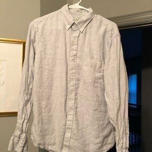 Men's J. Crew Irish Linen Shirt, Sand Houndstooth